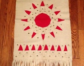 Vintage Hungarian Handmade Felt Wall Hanging Red White Sun Design