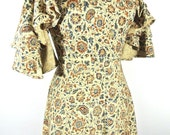 Vintage Colonial/Hippie Dress 1960-70's Long Floral Paisley XS Costume Flared Beige