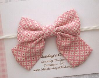 Pink Baby Bow Headband, Baby Bow Headband, Baby Headband, Sailor Bow Headband, Pink Bow Headband, Toddler Headband, Toddler Bow