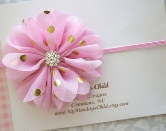Pink and Gold Baby Headband - Pink and Gold Headband - Baby Headband, Newborn Headband, Toddler Headband, Girls Headband