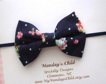 Navy Baby Bow, Baby Headband, Navy Bow Headband, Baby Bow Headband, Baby Bows, Toddler Headband, Toddler Bow, Newborn Headband