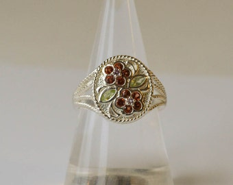 Genuine Peridot and Garnet Ring Vintage Sterling Silver Ring