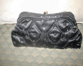 Vintage Black Satin Beaded Evening Purse