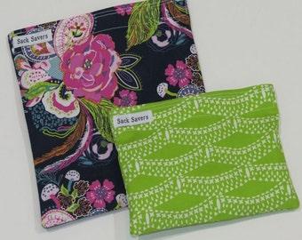 Reusable Sandwich Bag and Snack Bag Set Petal and Plume Eco Friendly Reusable Bags