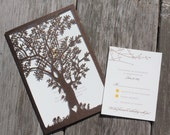 Shimmery Bronze Brown Laser Cut Tree Pockets and Envelopes only