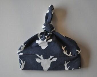 Newborn Baby Boy Deer Stag Organic Top Knot Baby Hat