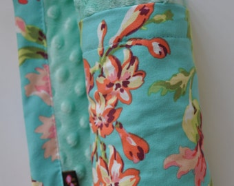 Baby Infant Toddler Minky Blanket,  XLARGE, Snuggle Size, Aqua Lime Green Coral Pink Flower Boquet and Minky