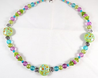 Pink Green and Blue Necklace with 3 Lampwork Focal Beads