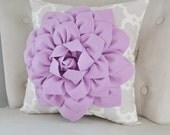 Lilac Dahlia Flower on Neutral Taupe Gray Tarika Pillow Accent Pillow Throw Pillow Toss Pillow