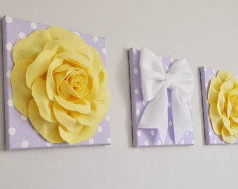 Forever and Always Lilac Polka Dot, Light Yellow, White, Light Purple Bedroom Wall Decor, Nursery Decor, Bow and Rose Bathroom Wall Decor