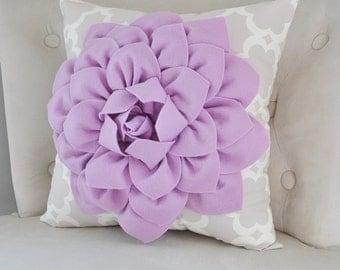 Lilac Dahlia Flower on Neutral Taupe Gray Tarika Pillow Accent Pillow Throw Pillow Toss Pillow