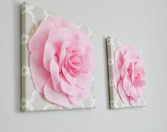 "Roses in Light Pink on Neutral Taupe/Gray Tarika Print 12 x12"" Canvases Art- Baby Nursery Wall Decor- Baby Girl Nursery - Baby Shower Gift"