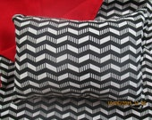 American Girl Chevron Doll Bedding, black, white, and red reversible blanket and pillow for 18 inch dolls