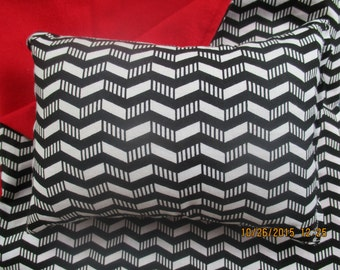Chevron Doll Bedding, black, white, and red reversible blanket and pillow for 18 inch dolls