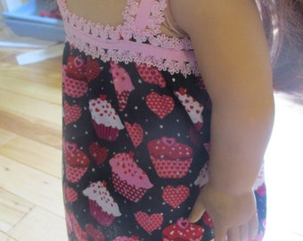18 Inch Doll Nightgown, cupcake dress for 18 inch doll