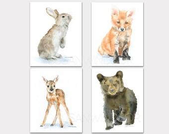 Woodland Watercolor Animal Art Prints Nursery Childrens Room Set of 4 Bear Fox Deer Bunny PORTRAIT-Vertical Orientation
