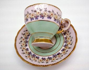 Antique Vintage Tea Cup Set, Fine Bone China, Tuscan English Tea Cup Set, Pastel Pink Tint,Shower Wedding Mother Grandmother Gift