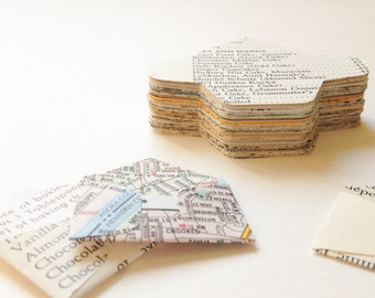 125 Punched Miniature Envelopes from vintage books, maps, music, cookbooks and ephemera