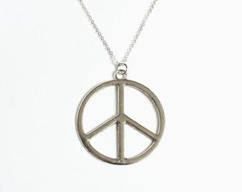Large Peace Symbol Necklace