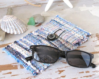 Soft Glasses Sunglass Eyeglass Case, Boho Wallet Pouch Seaside Blue Woven Small Hand Bag, Reading Glasses Case Lined Fabric Handbag Purse