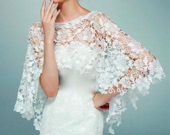 White Ivory Bridal Wrap, White Ivory Wedding Shrug, White Ivory Wedding Jacket,  White Ivory Wedding Bolero, White Ivory Wedding Shawl