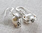 Ivory Pearl Earrings, Pearl Dangle Earrings, Feshwater Pearl Earrings, Wire Wrapped Earrings, Sterling Silver Jewelry