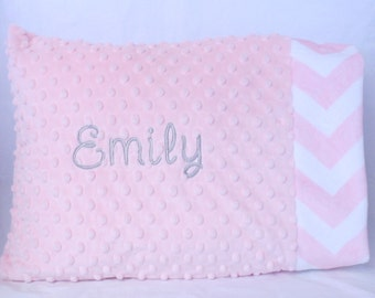 Personalized Toddler Pillow Case- You Choose Your Colors- Blush Minky- Light Pink Chevron Minky
