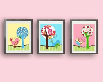 girl nursery art, birds wall art, brooke bedding art prints, birds owls wall art decor