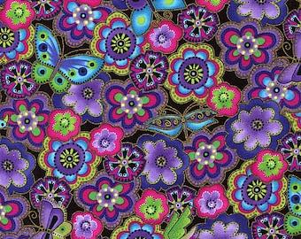 Dog and Doggies Purple Floral Metallic - Laurel Burch - Clothworks - Half Yard
