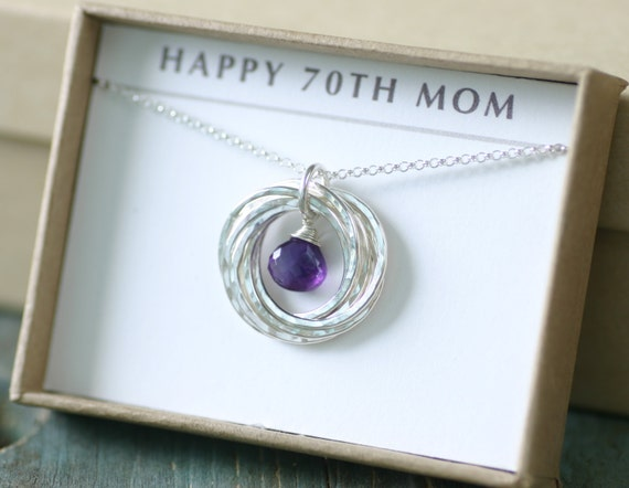 birthday gift for mother necklace amethyst, February birthstone gift ...