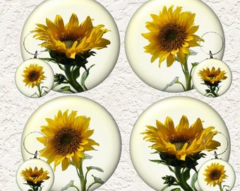 "Sunflower Coasters Set 3.5"" in Size with or without matching Set of 4 Wine Charms 1.5"" Buy 3 Sets Get 1 Full Set Free 017WC"