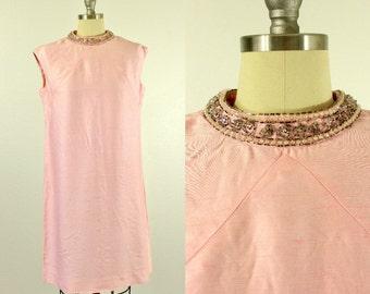1960's Pink Shift Dress S M Samuel Grossman Beaded Collar