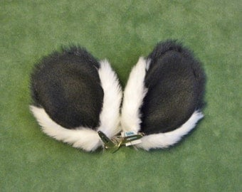 Black and White Panda Bear Faux Fur Ears Costume Halloween Cosplay