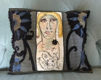 Emerge - Free Motion Embroidered Art Pillow created by Trish Vernazza of Visions of Venus