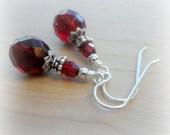 Art Deco Earrings Garnet Red Swarovski Red Earrings Sterling Silver Garnet Earrings Art Deco Jewelry Gifts for Mom