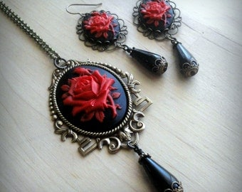 Necklace and Earrings Cameo Jewelry Earrings and Necklace Cameo Necklace Gothic Jewelry Cameo Pendant Victorian Necklace