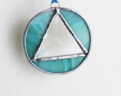 RECOVERY SUNCATCHER MINI- Lime Turquiose Triangle in Circle Sobriety Suncatcher, Gift for Sponsor or Sponsee, Recovery Gift, Milestone Gift