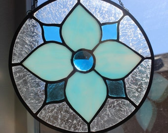 STAINED GLASS SUNCATCHER -Turquoise Flower, Under 40, Wedding, Birthday, Gift for Coworker, Stained Glass Window, Window Decor, Stain Glass