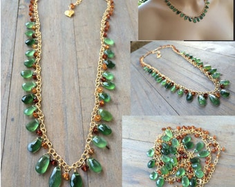 OOAK necklace. Green Russian Serpentine.  Madeira Citrine. Gold fill