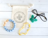 Silicone Teething Kit - Baby Boy Gift - Teething Necklace - Amber Teething Necklace - Nursing Necklace - Gift - Priority Shipping Included