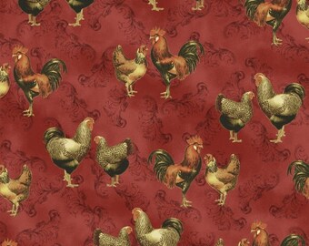Chickens and Roosters on Deep Red - Farm Fresh from Windham Fabrics - Full or Half Yard Kitchen Chicken Fabric