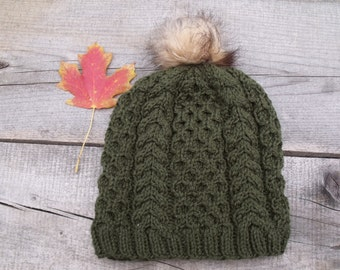 Women's Hat, Cable Knit Hat, Slouchy Hat, Pom Pom Hat, Faux Fur Pom Pom, Knit Hat, Slouchy Beanie, Knit Beanie, Cable Knit Beanie, Green