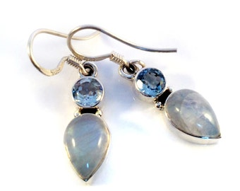 Rainbow Moonstone earrings,Blue topaz,Dangle Earrings 925 Sterling Silver Earrings,Moonstone jewelry,minimalist jewelry