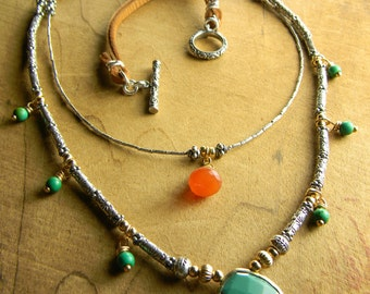 Boho Southwestern Jewelry Necklace Thai Hill Tribe Sterling Silver Gold Filled Turquoise Carnelian