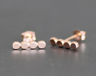 Rose Gold Vermeil Pebble Bar Earring - Beaded Post /Stud Earrings - 11x3mm - Medium Size - Rose Gold over Recycled Sterling Silver