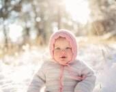 Pink Girl's Bonnet, Crochet Toddler Hat, Girls Toddler Bonnet, Girl Hat, 12 Months to 4T (Skyla)