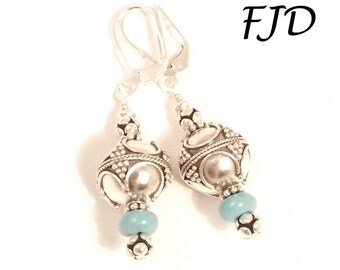 Bali Silver and Turquoise Howlite Earrings