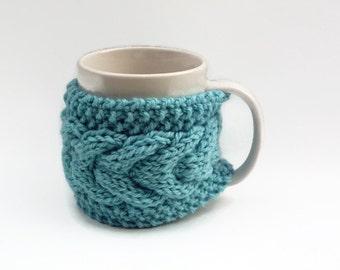 mug cozy knitted mug warmer blue cup cozy