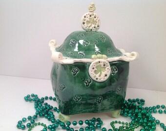 Kitchen canister/celtic pottery/irish pottery/pottery box/shamrocks/jar/ lidded box/pottery box