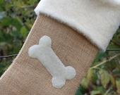 Burlap Christmas Stocking for Dogs- Burlap and Bone Custom Stocking
